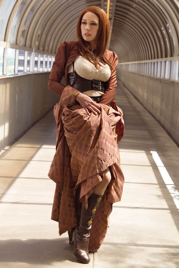 Redhead steampunk girl