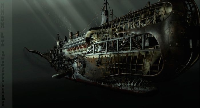 steampunk Sperm Whale submarine