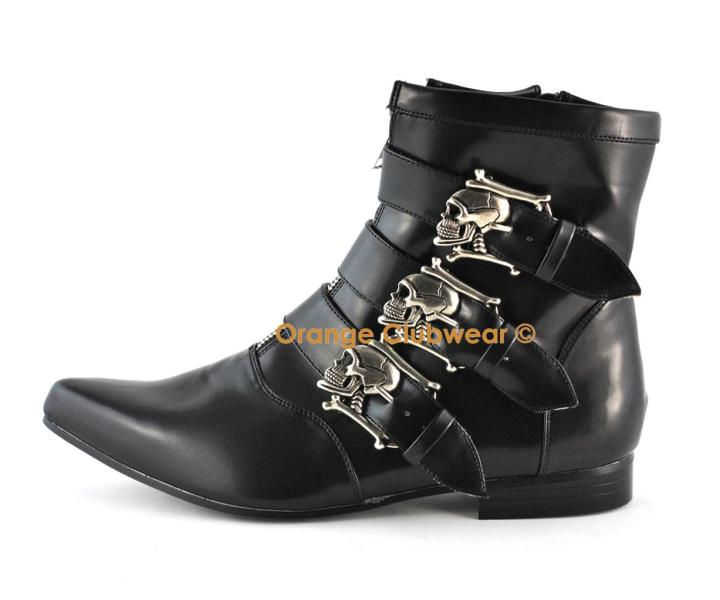 Ankle high gothic boots with skull buckles