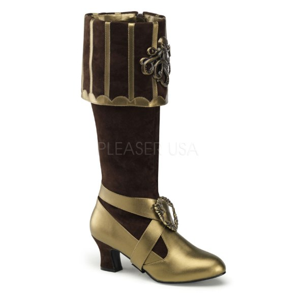 Calf length steampunk boots in bronze with Octopus design