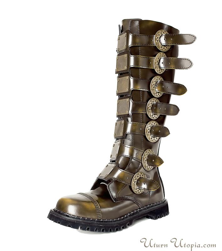 Clockwork buckle knee length boots