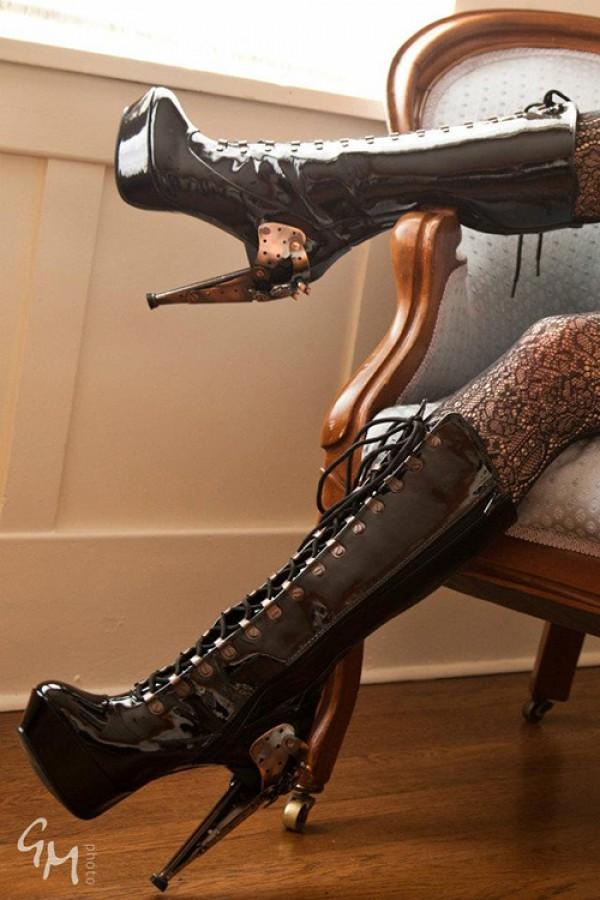 Zeppelin Calf length steampunk boots