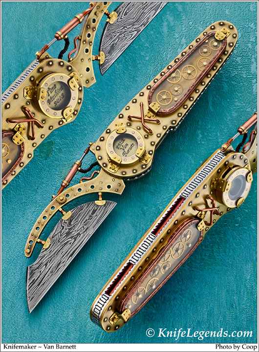 Steampunk  knife with suspended blade