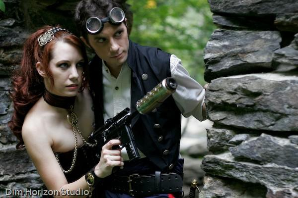 steampunk star wars cosplayers Leia and Han