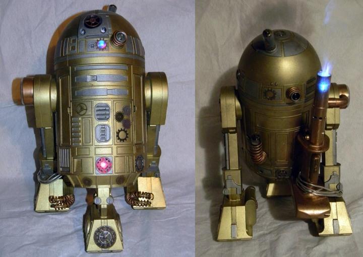 steampunk star wars cosplayers gold R2
