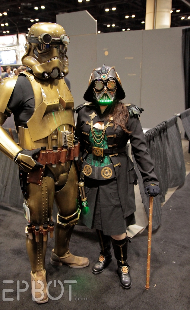 steampunk star wars cosplayers Stormtrooper and female Vader