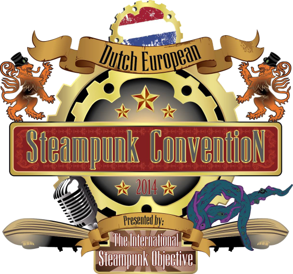 Dutch European steampunk convention crest
