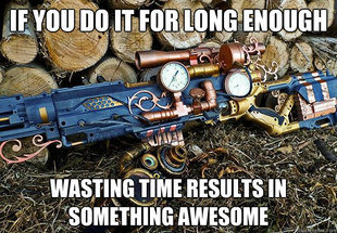 Wasting time creates steampunk
