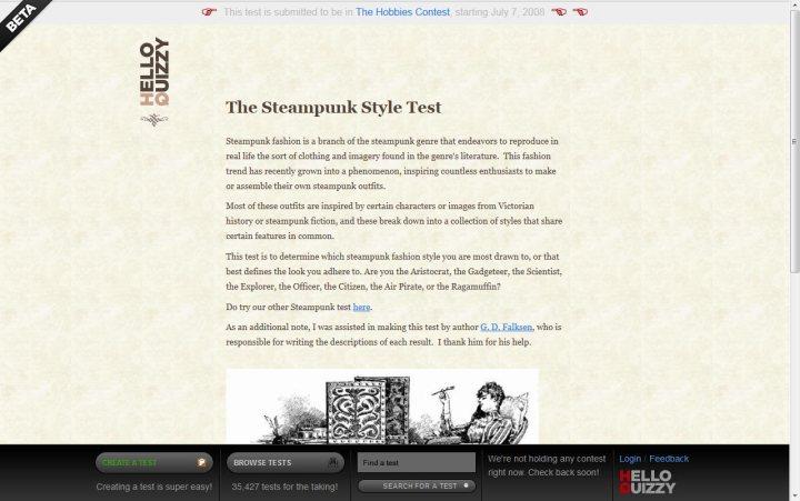 Hello Quizzy steampunk style test