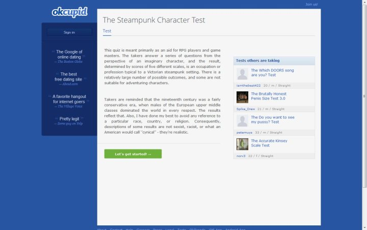 OKCupid steampunk character test