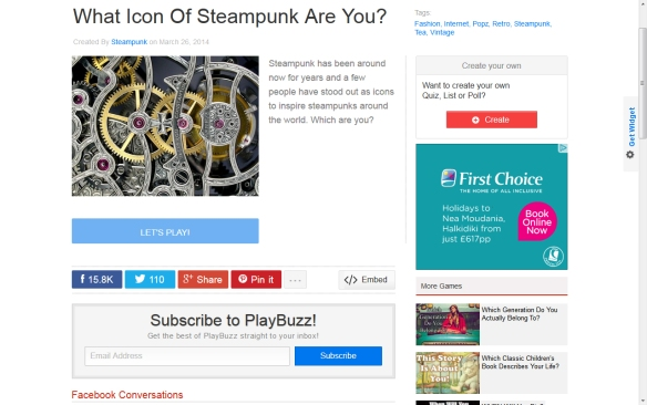 Playbuzz steampunk icon challenge