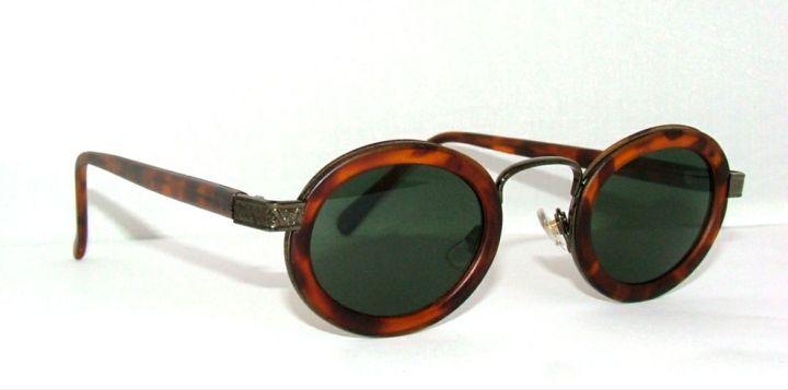 Vintage 80s Steampunk Style Sunglasses Victorian Revival Tortoiseshell & Pewter
